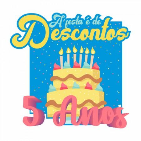 Adesivo de Vitrine - Aniversário de Loja - A Festa é de Descontos