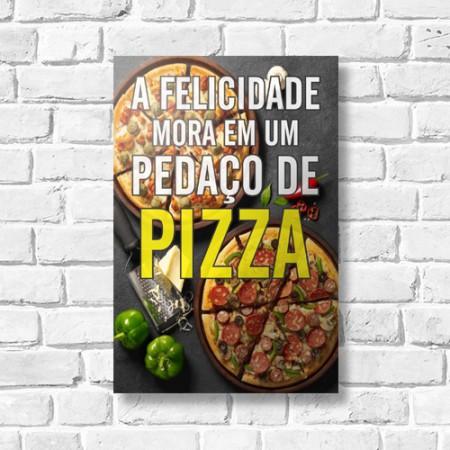 Quadrinho Decorativo - Felicidade é Pizza